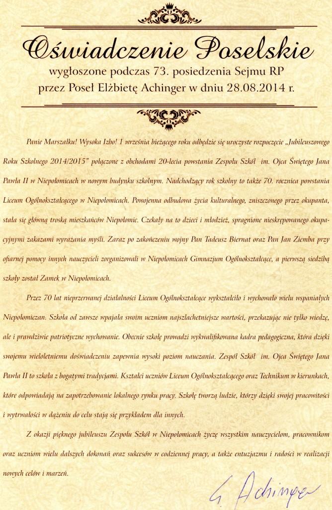 2014 VIII 08 - Oświadczenie Poselskie